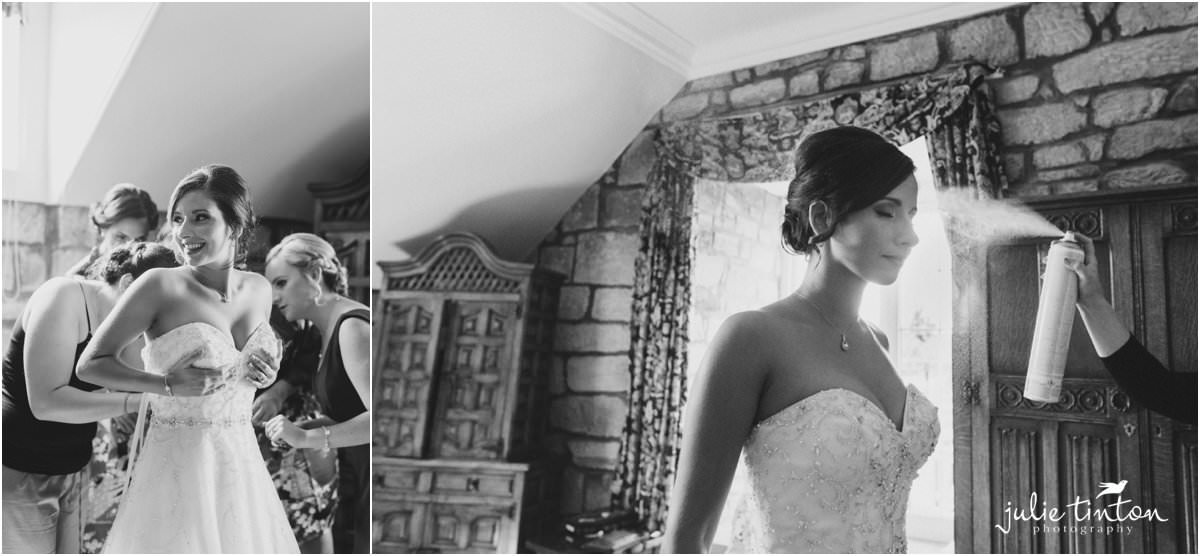 black and white bridal preparations at Dalhousie Castle