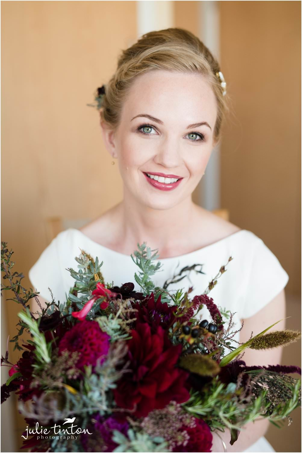 Portrait of bride with her bridal bouquet