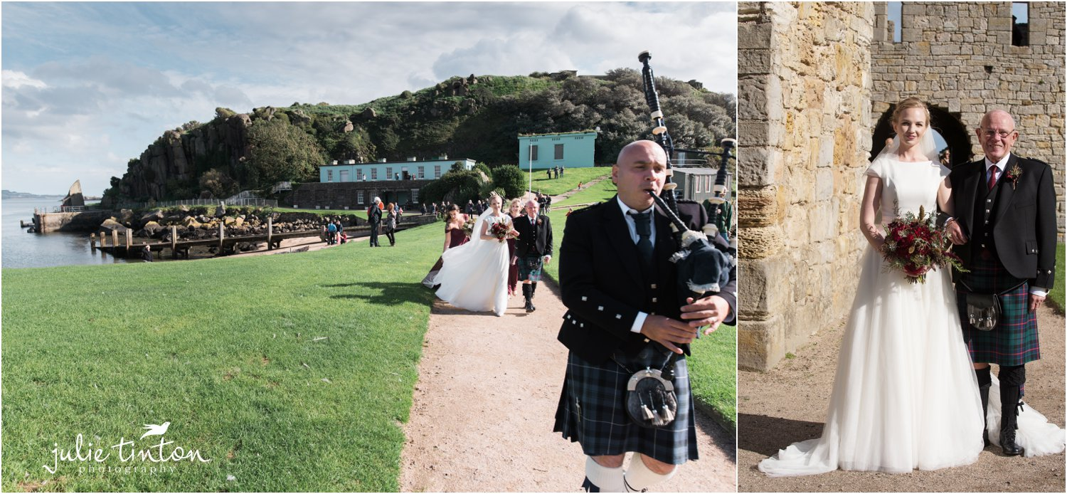 Bride with her Father arriving at Inchcolm Island with Piper