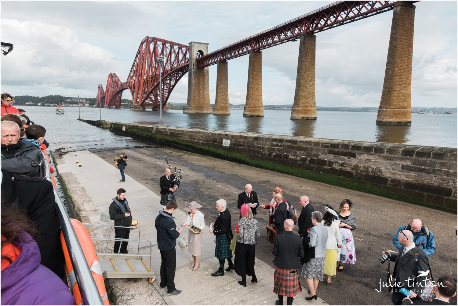 Wedding Guests waiting to board Maid of Forth for a wedding at Inchcolm Island