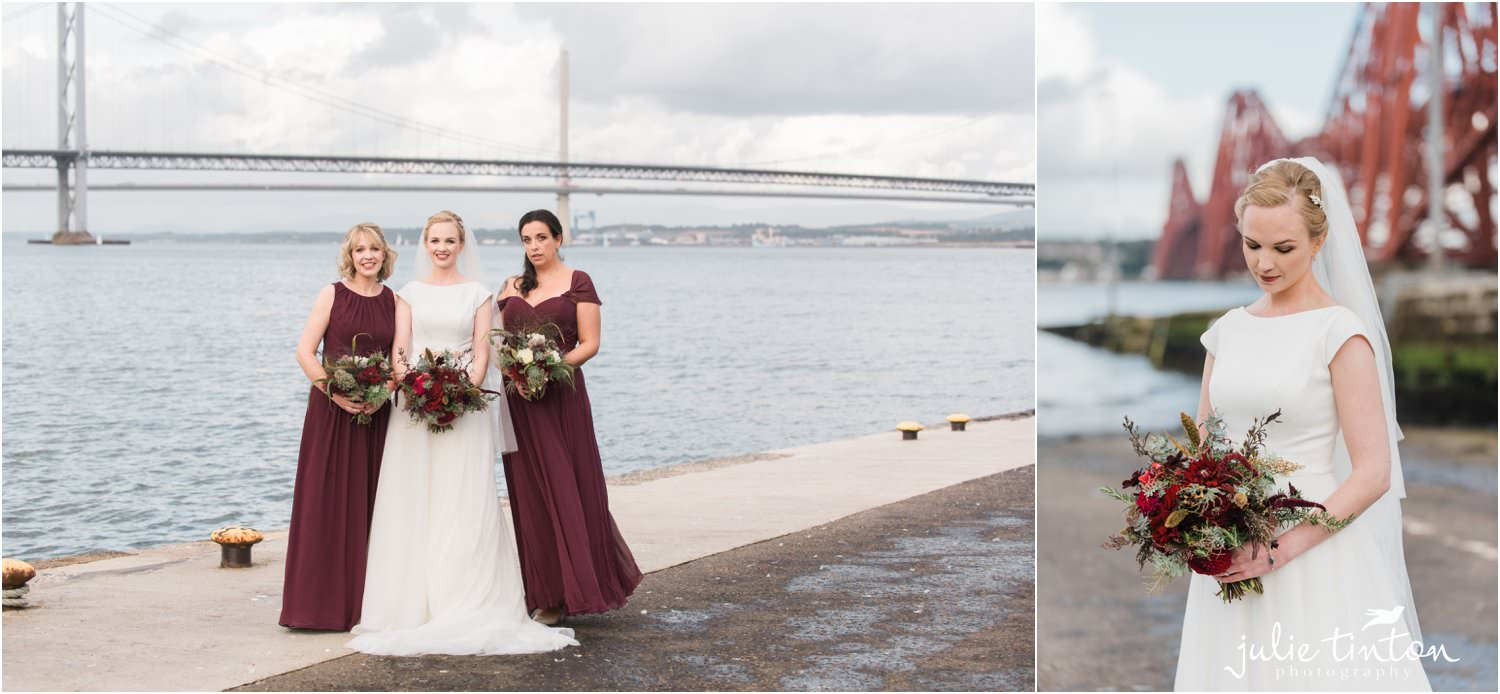 Bridesmaids and Bride with South Queensferry Crossing in background
