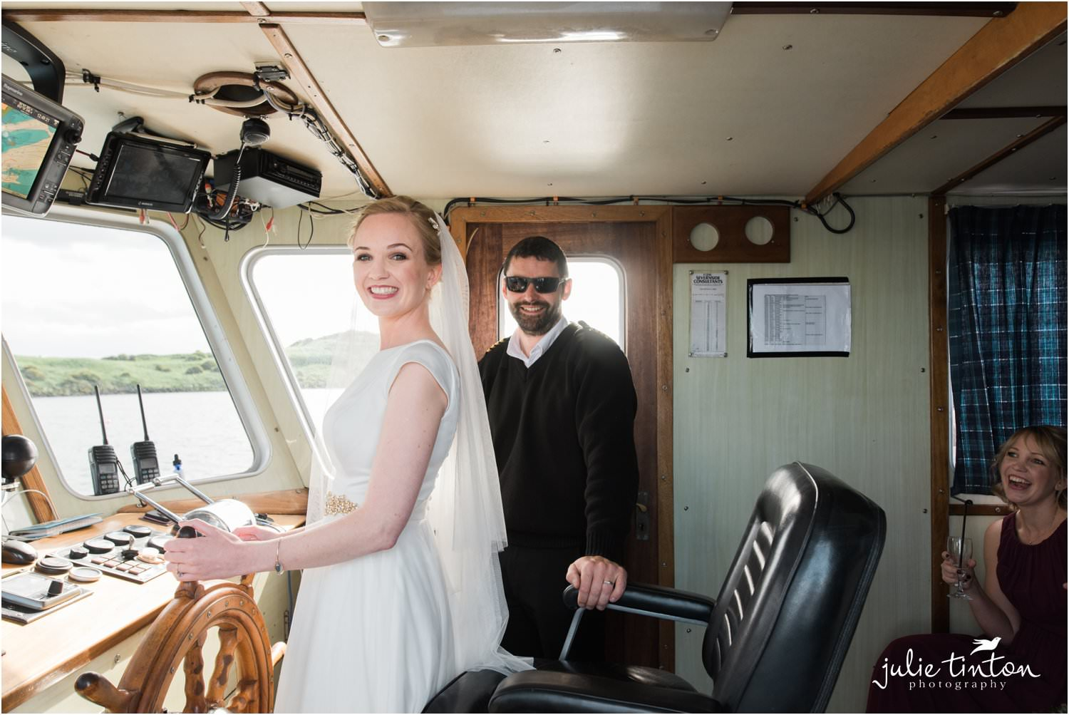 Bride with Captain on Maid of Forth to Inchcolm Island