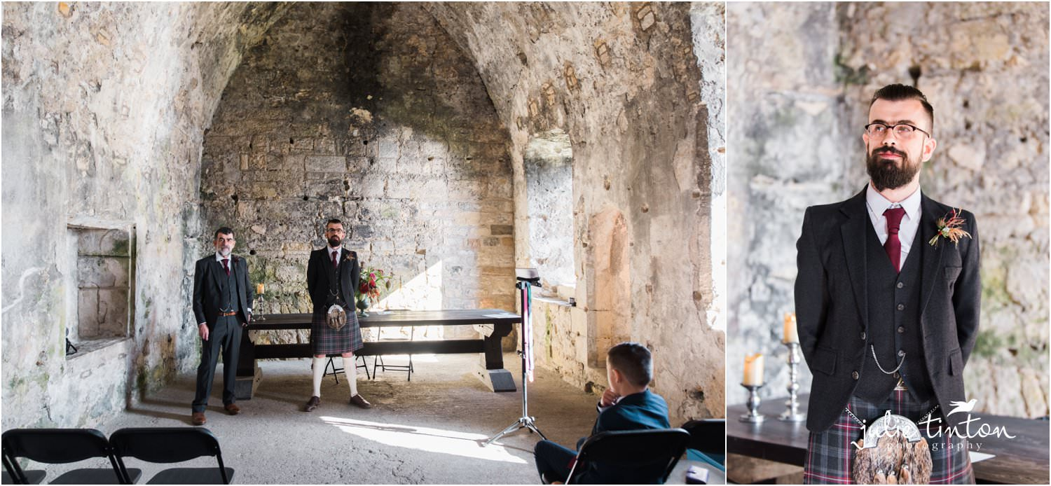 Groom at his wedding ceremony at Inchcolm Island