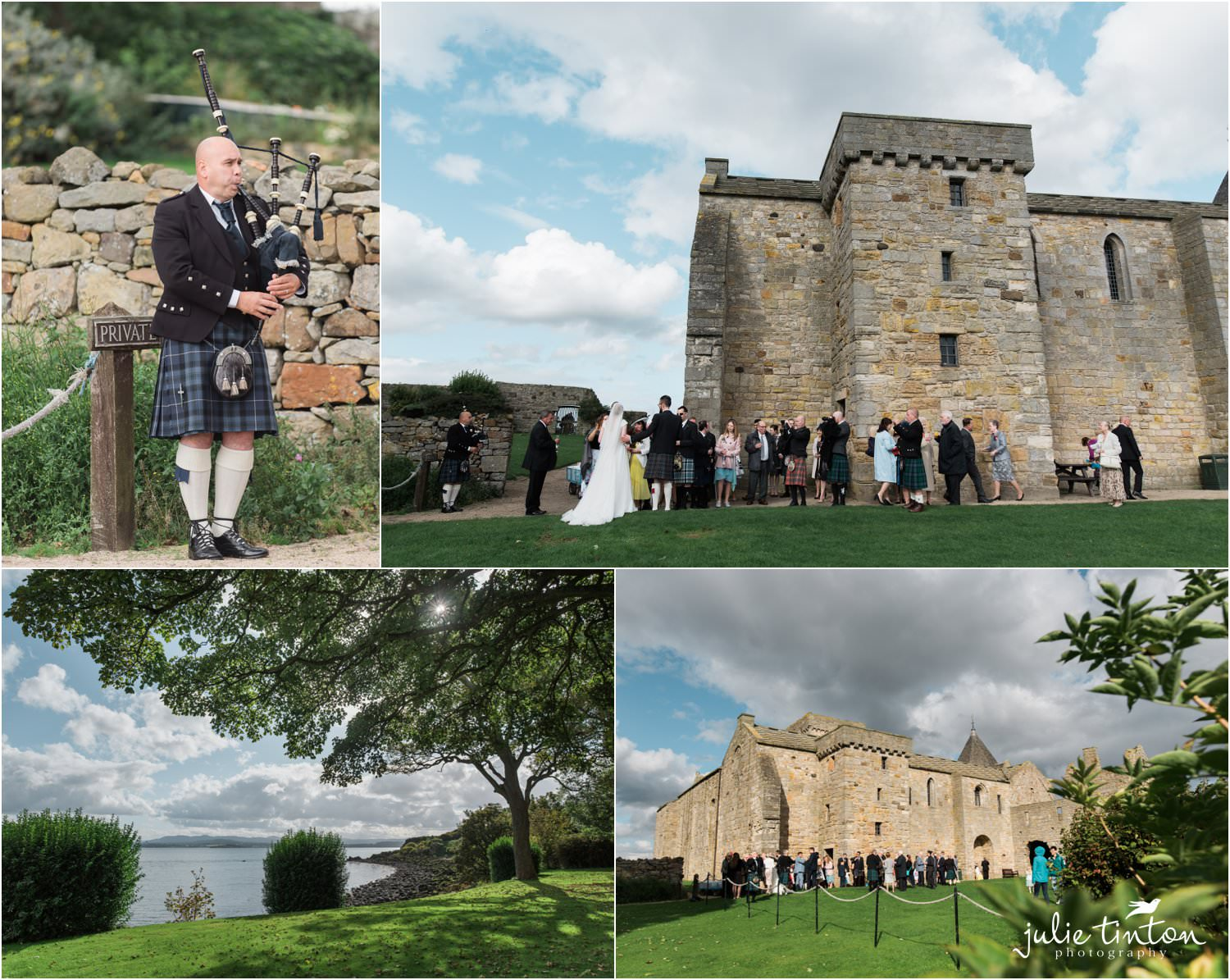 Reception drinks on the lawn at Inchcolm Abbey