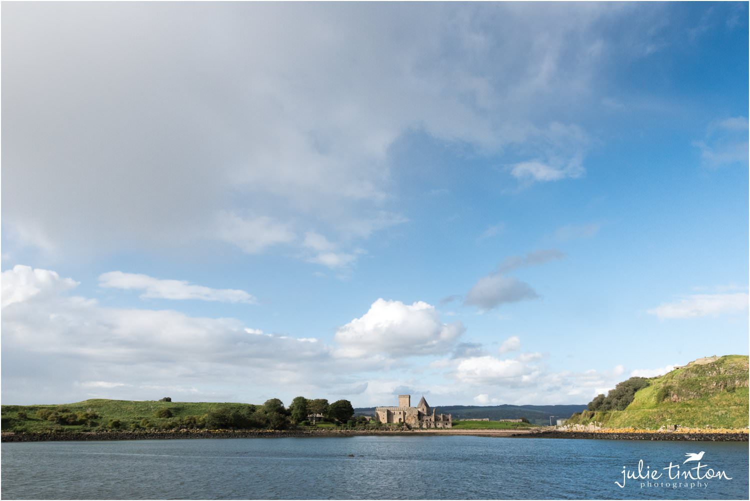 Inchcolm Island Abbey on a sunny wedding day