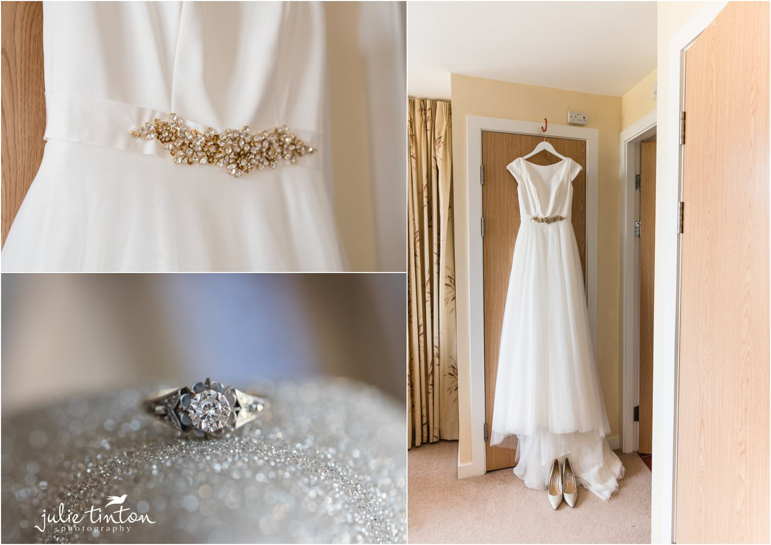 Brides wedding dress and vintage ring