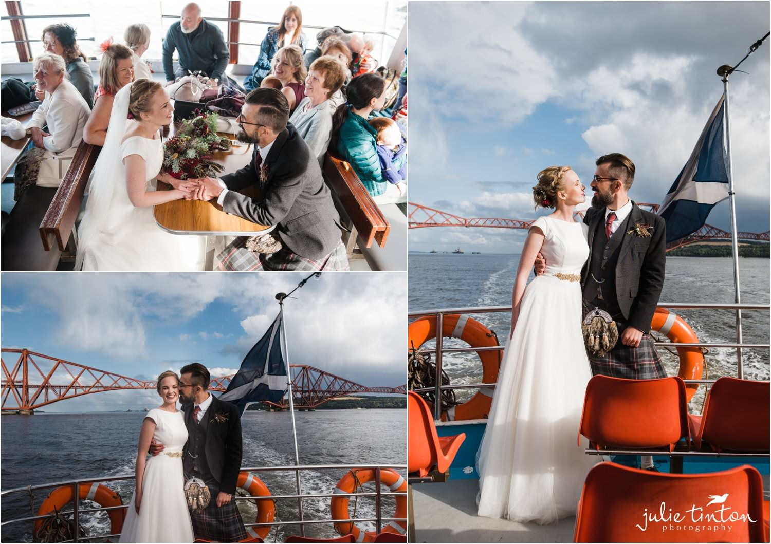 Bride and Groom with guests on Maid of Forth and views of Forth Road Bridge
