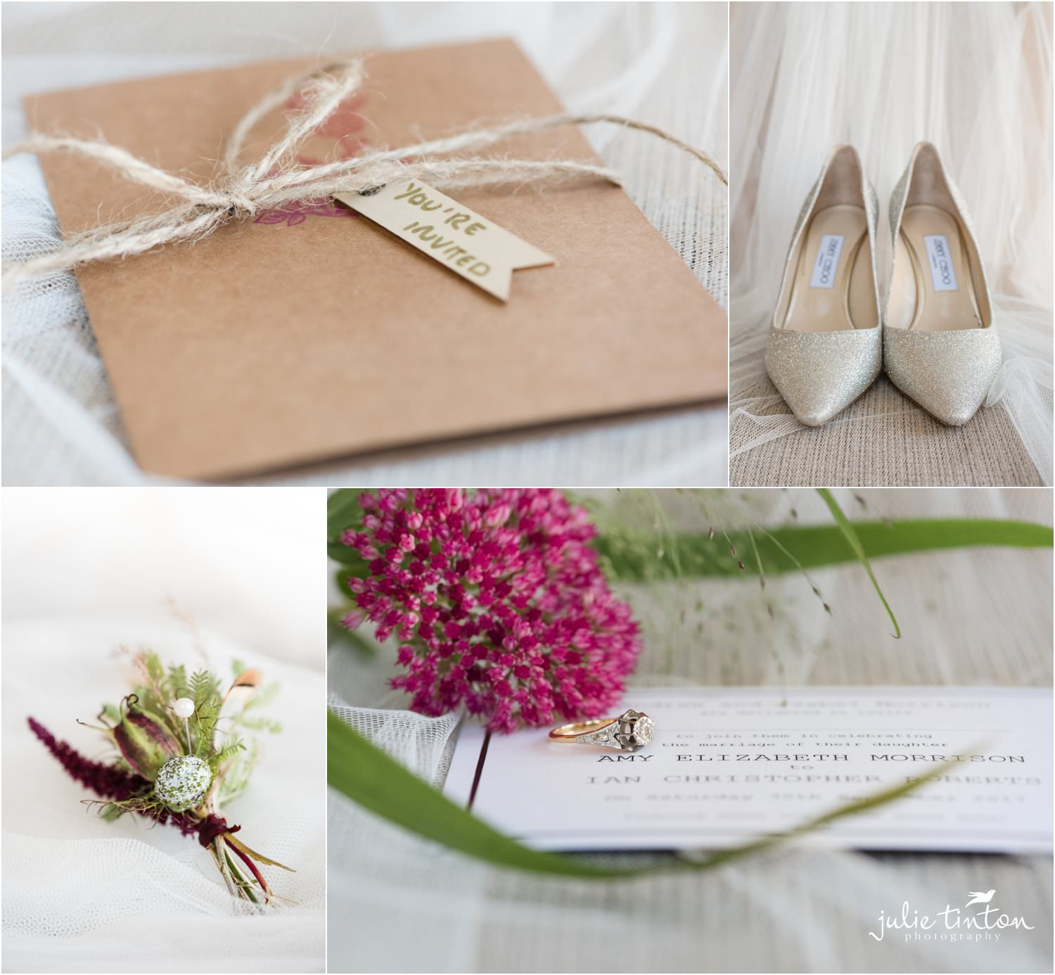 Wedding details invitation shoes flowers