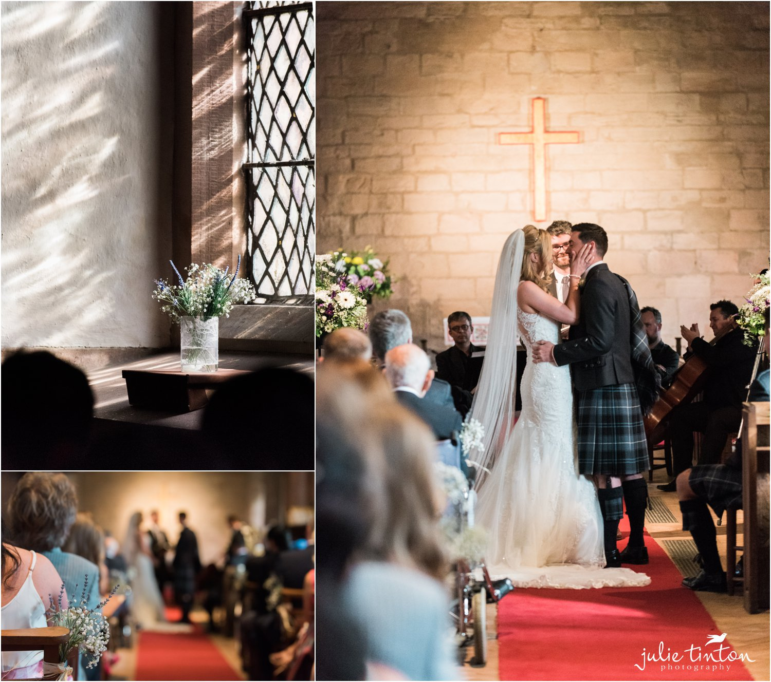 montage of bride and groom during their ceremony in church