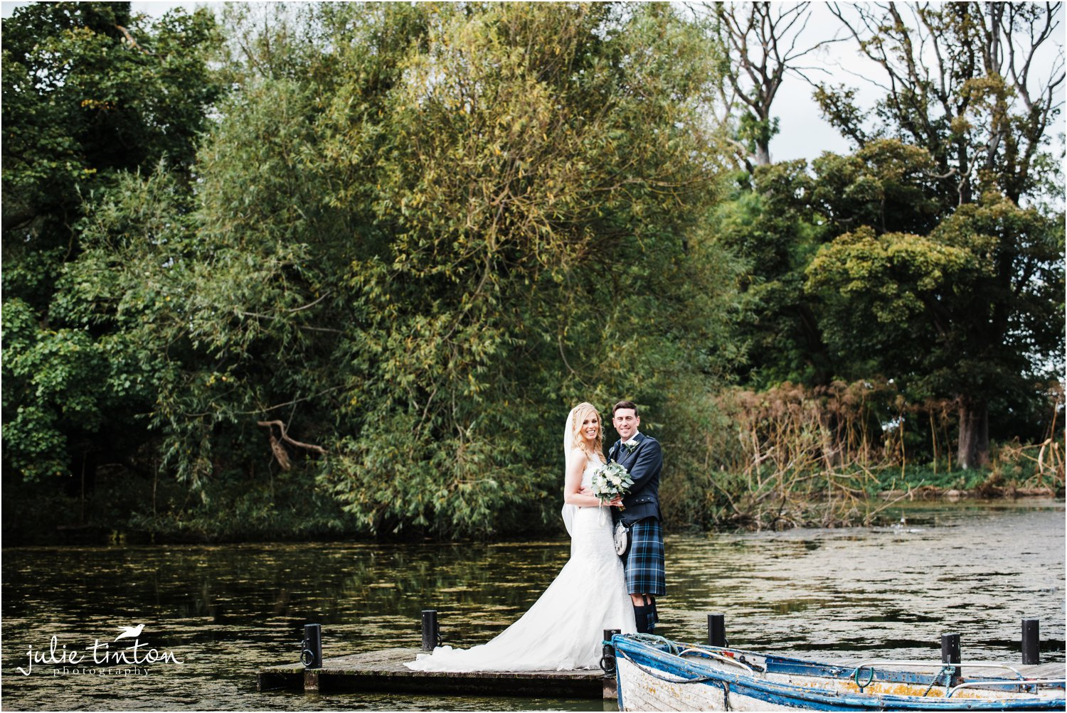 Bride and Groom at Broxmouth Park lake