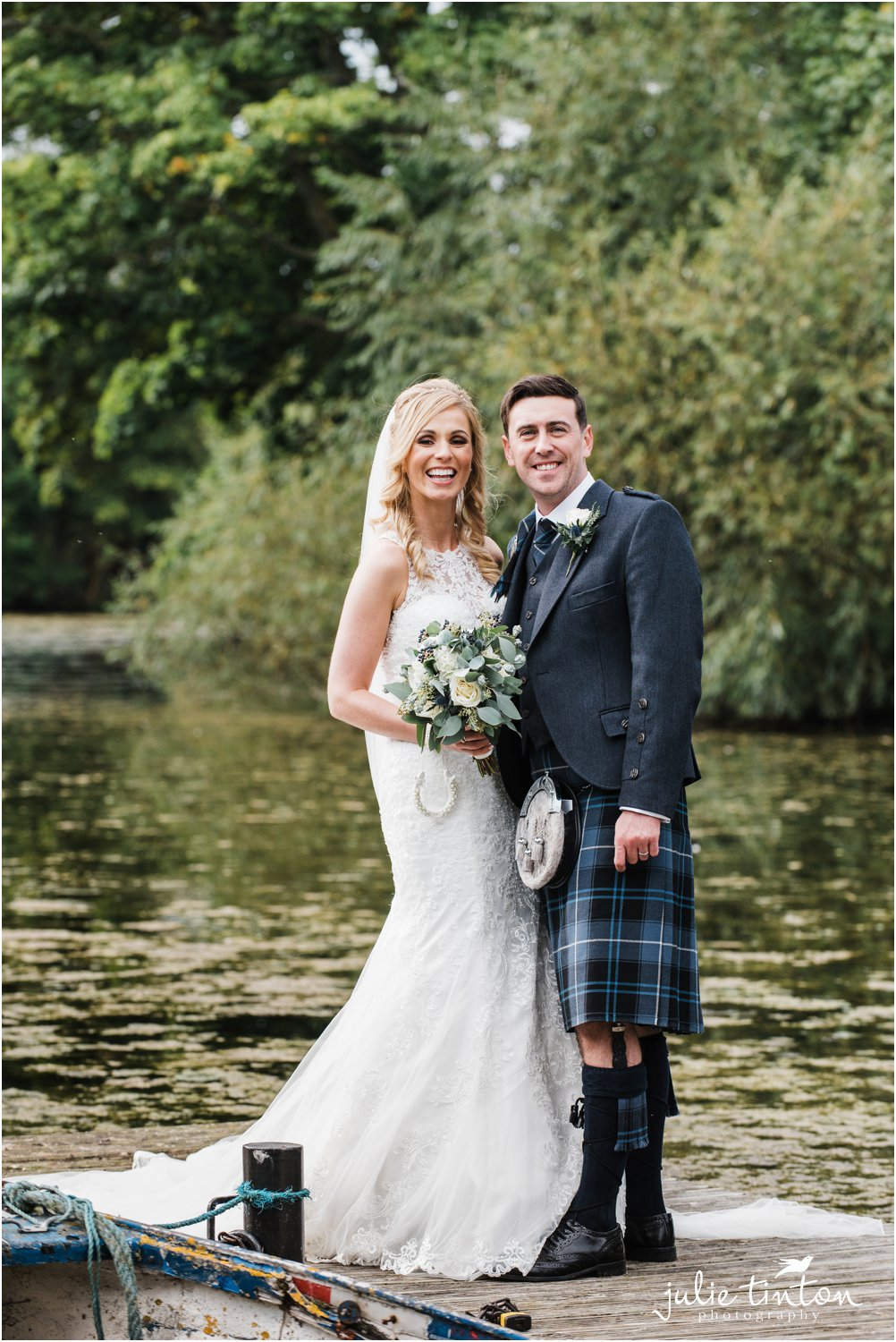 Portrait of bride and groom at Broxmouth Park