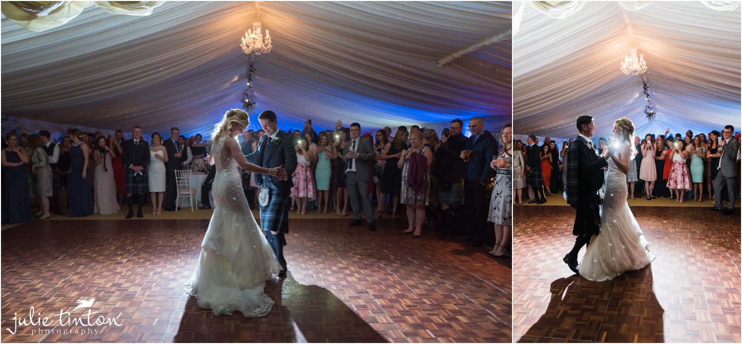 Bride and groom's first dance at Broxmouth House with low light