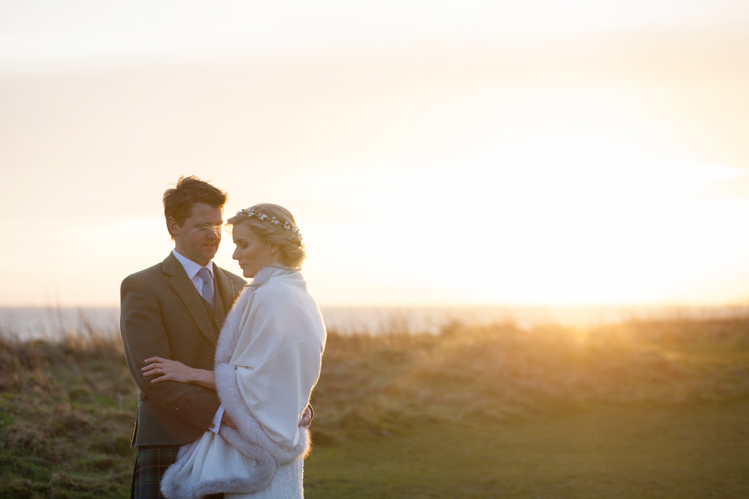 Bride and Groom at sunset on Calton Hill Edinburgh