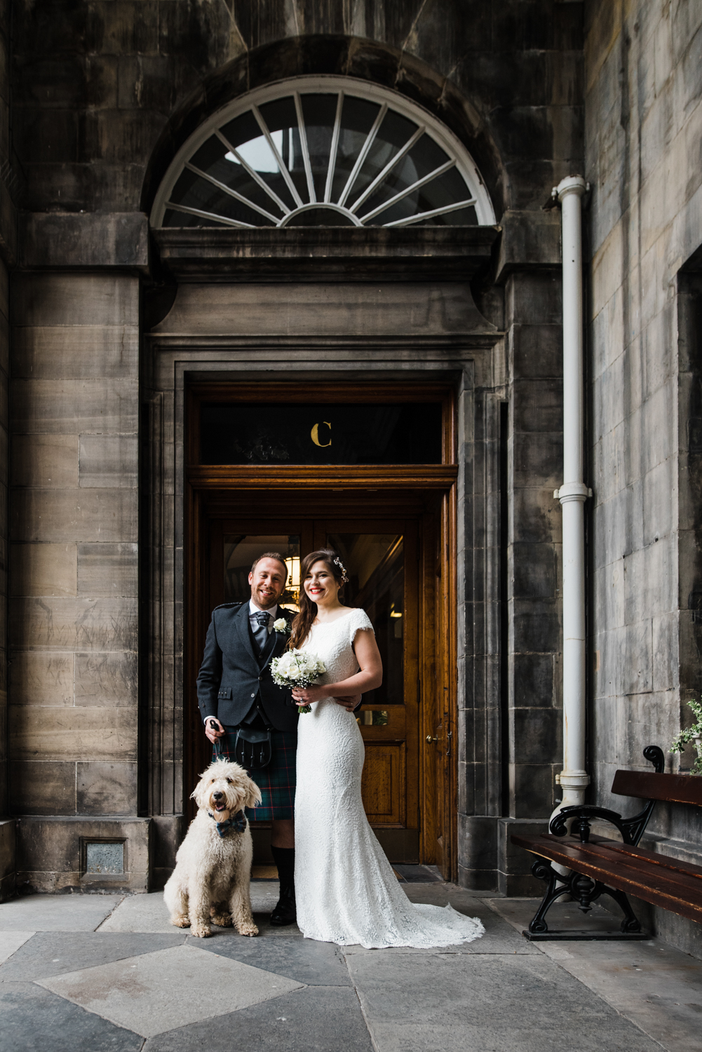 Bride and Groom with Labradoodle dog