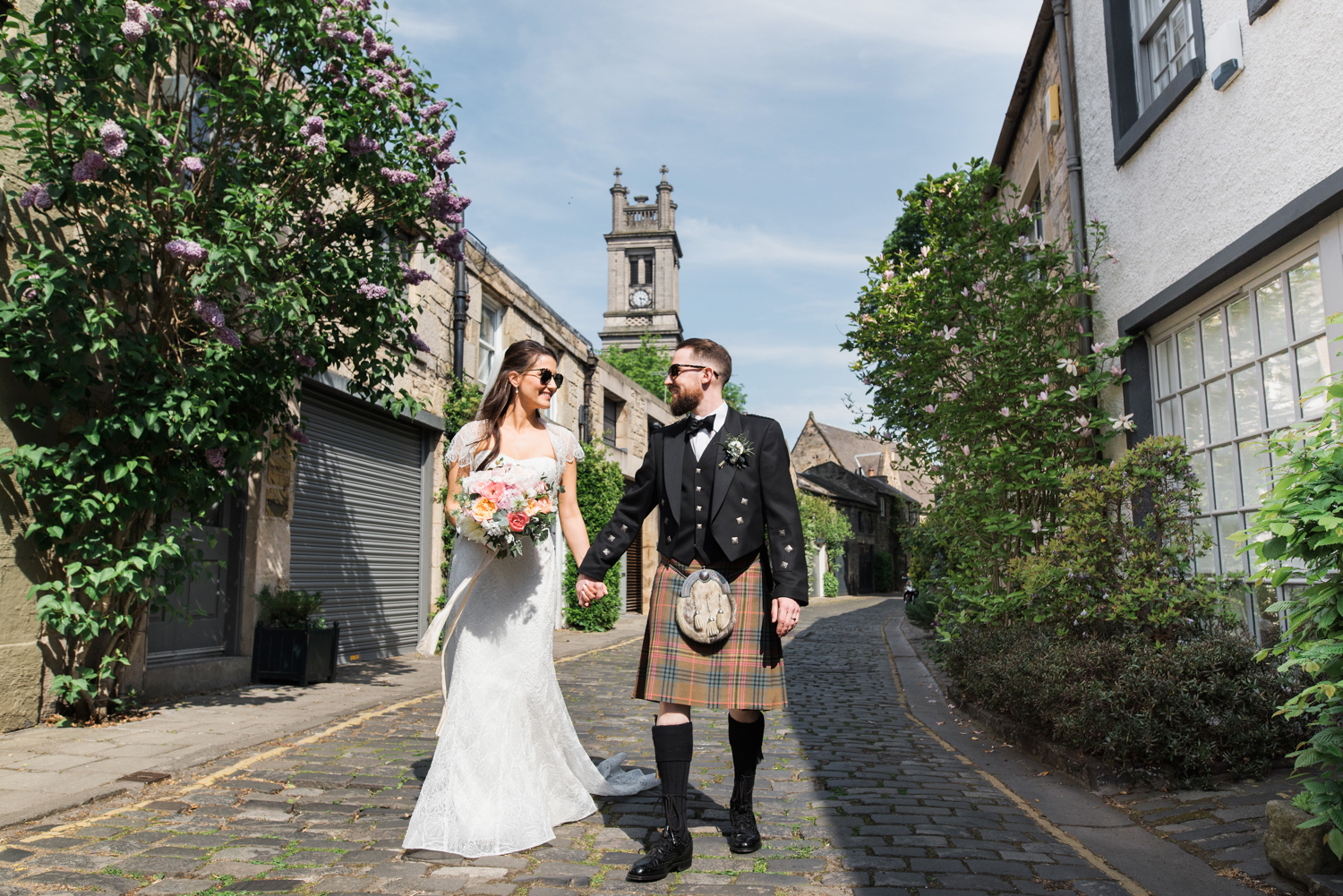 Bride and Groom walking in Circus Lane Edinburgh