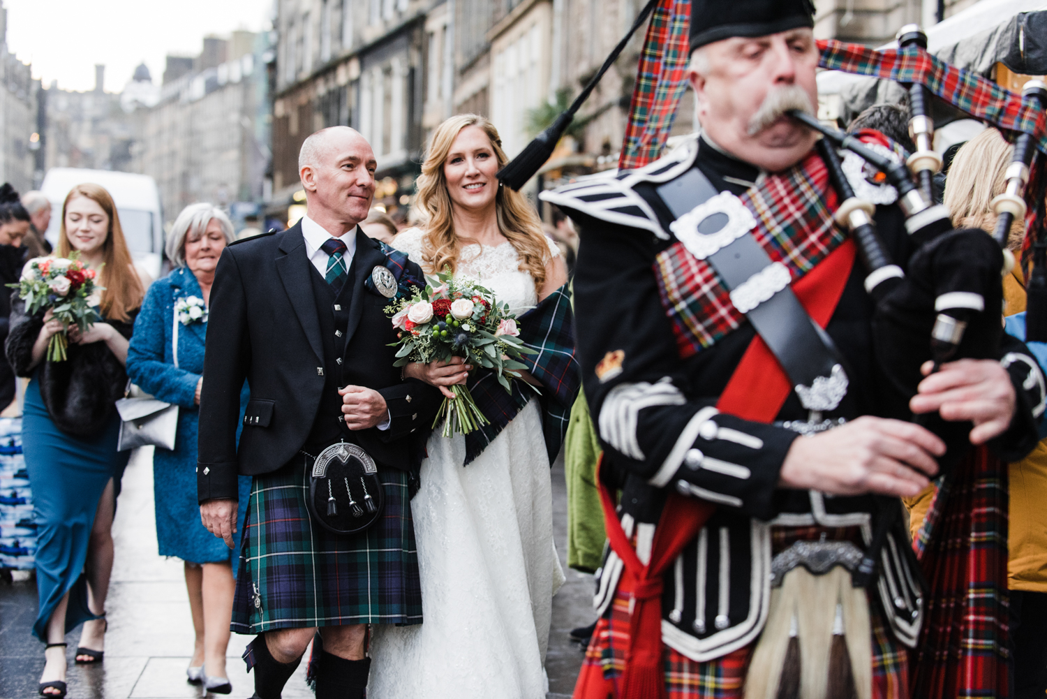 Bride and Groom with Scottish Piper