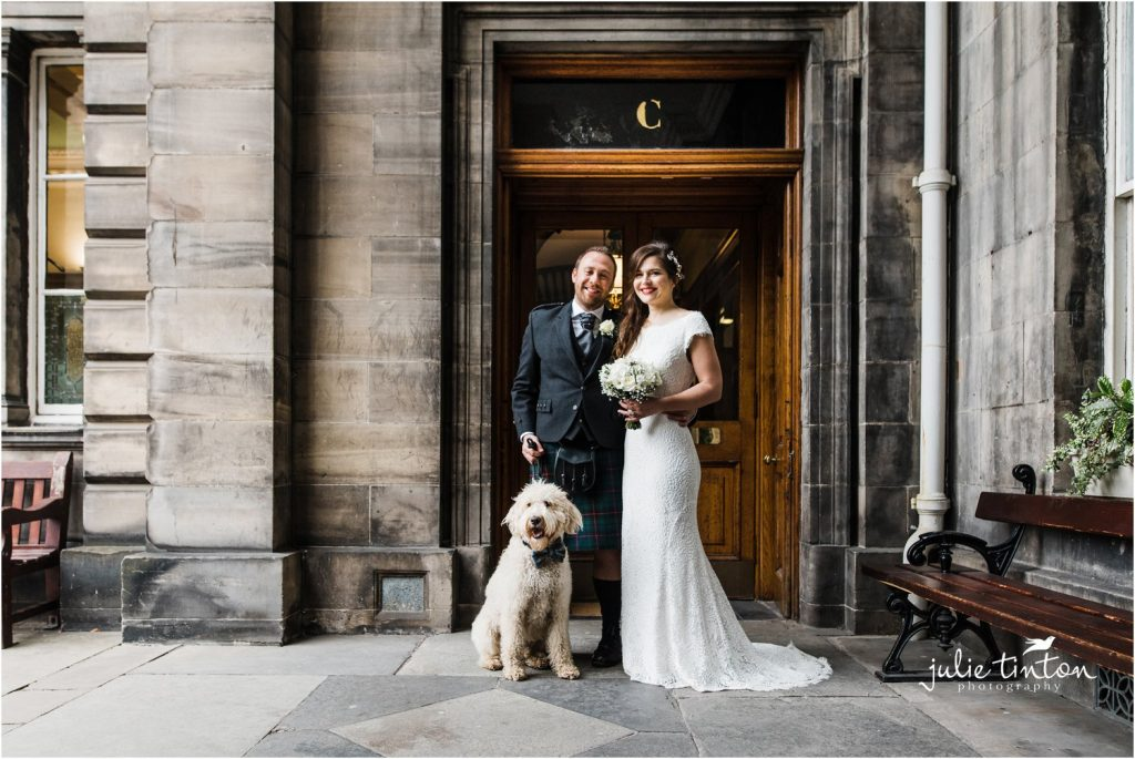 Edinburgh City Chambers bride and groom with their dog