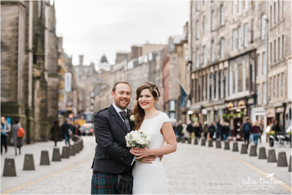 Bride and Groom on Edinburgh Royal Mile