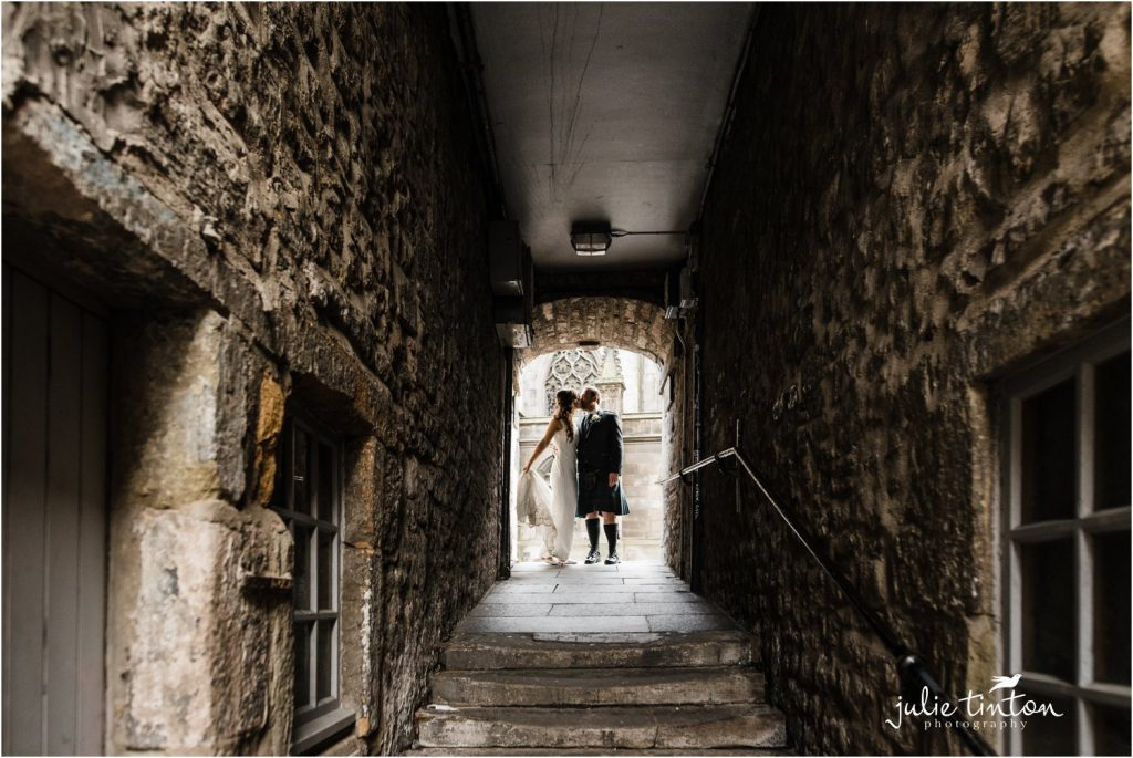 Bride and Groom at Fleshmarket Close Edinburgh