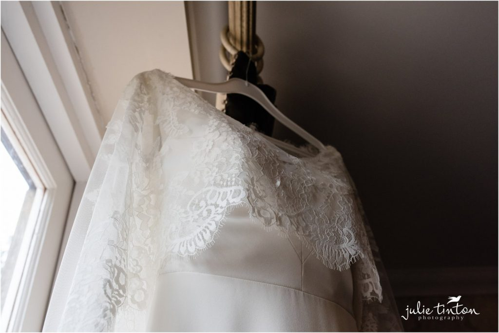 Sassi Holford Dress with bridal cape