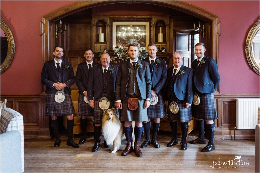 Groom with Ushers and dog