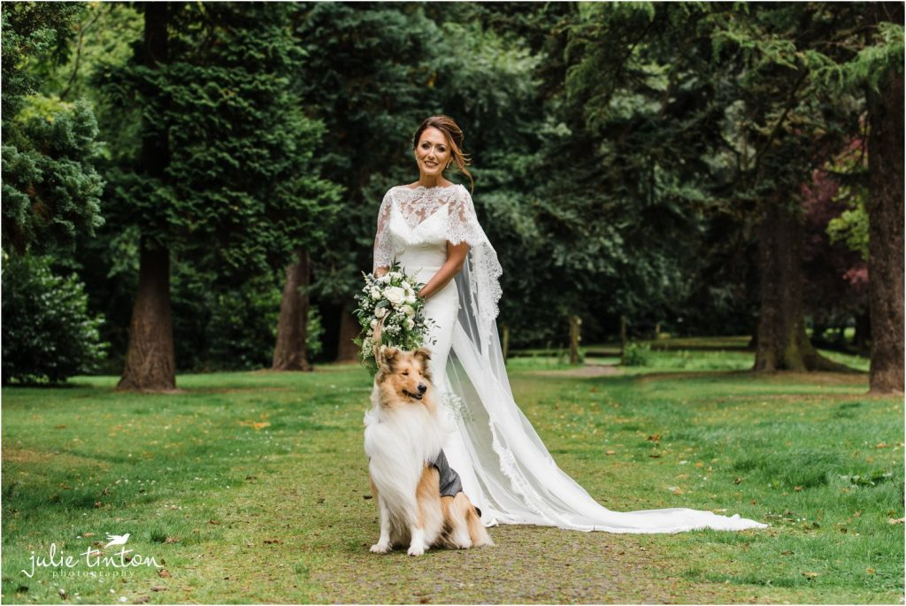 Bride with her dog at Inglewood House