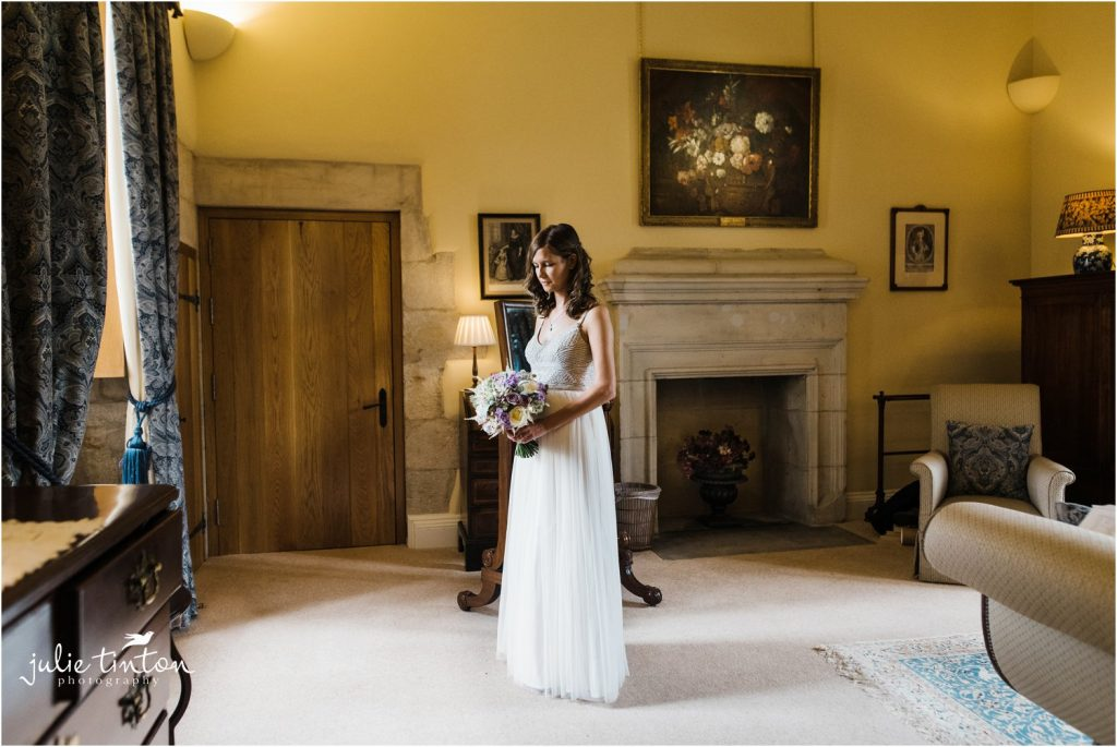 Bridal Portrait in window light at Winton Castle