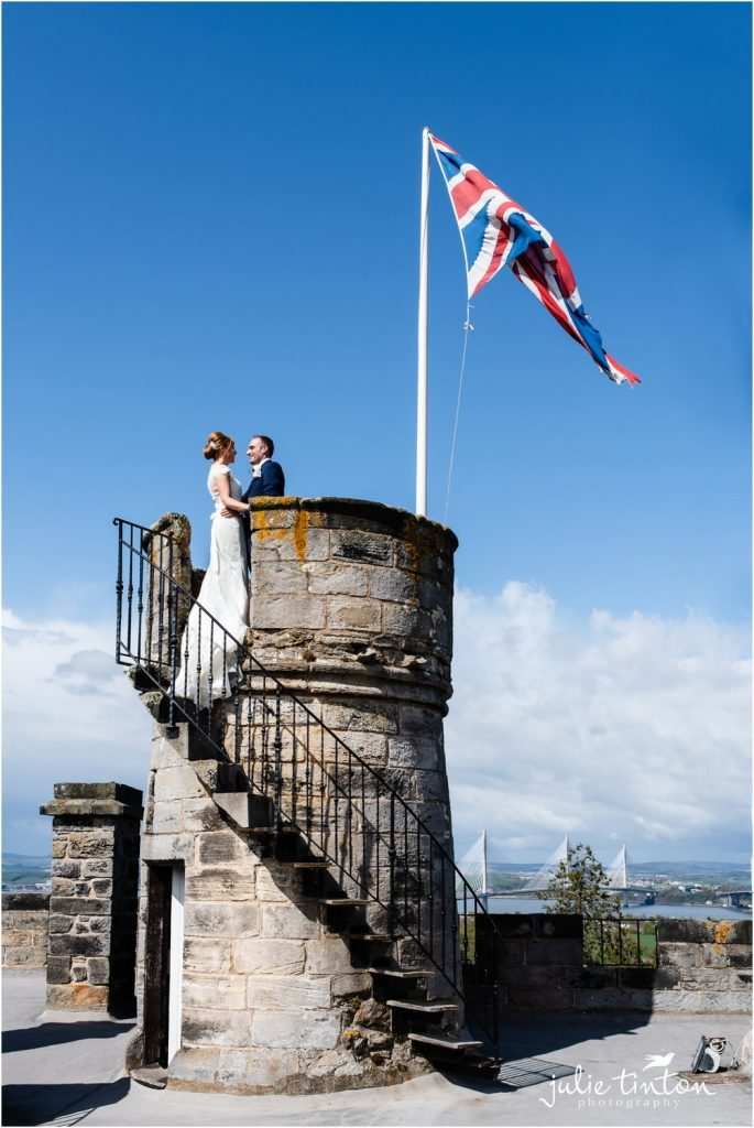 Bride & Groom on Dundas Castle roof