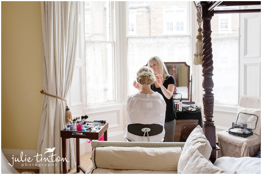 Bride getting ready, Glencorse House