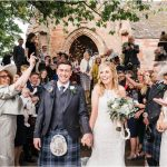 Confetti shot of newlyweds at Browmouth Park wedding